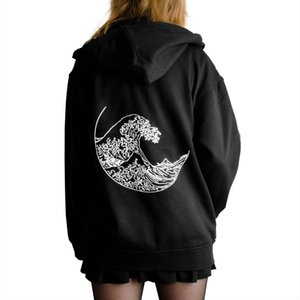 New Fashion Sweatshirt Women Hokusai The Great Wave Print Long Sleeves Hoodies Harajuku Causal Jumpers Gothic Power Shirts Tops