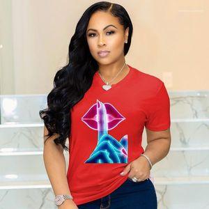 Luxury Designer Summer Clothes Short Sleeve Crew Neck Lip Print Tees Tops Ladies Clothing Womens 2020