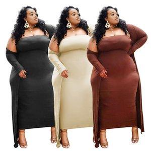Plus Size Abbigliamento Donna vestito solido Sers sexy due pezzi vestito da partito del 2021 commercio all'ingrosso del vestito di nuovi arrivi