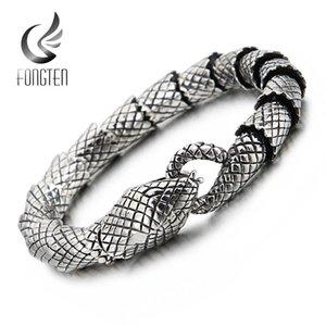Fongten Punk Unisex pulseira Jóias Cobra retro cadeia do aço inoxidável Viking Pulseira Moda Homme