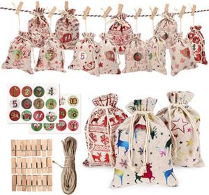 Advento do Natal Calendário sacos de linho pequeno saco de presente de Natal de linho definir 24 dias de serapilheira Hanging presentes Calendários de Advento Garland Drawstring Bag