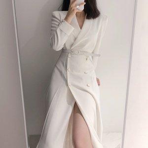 HMA 2020 New Autumn Winter Women's Coat Korean Chic Windbreaker Female Overcoat Double Breasted Ladies Long Trench Coats T200908