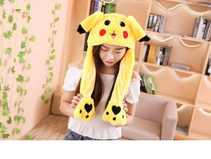 Creative Plush Rabbit Ear Hats Pinching Moving Ears Winter Animals Caps Girls Cosplay Party Performance Costume
