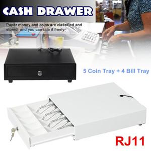 ثقيلة درج النقدية مربع مع 5 عملة صينية 4 بيل صينية RJ11 مفتاح ثلاثة والعتاد قفل أبيض / أسود إزالة درج النقدية للسوبر ماركت