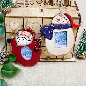 1PC عيد الميلاد سانتا كلوز ثلج إطار الصورة صورة الإطار حامل شجرة عيد الميلاد الحلي هدية الديكور المنزلي 2 اساليب