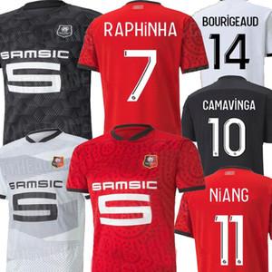 20 21 Stade adulto Rennais Raphinha Vermelho Branco Preto Mens Miúdos Kit de Futebol Jersey Bourigeud Guirassy Kids Rennais Maillot De Foot Camiseta 2021