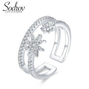Sodrov 925 Silver Star Burst gioielli anelli aperti impegno per le donne