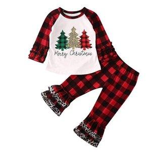 Детские Designs Одежда наборы Merry Christmas Plaid Одежда Комплекты Leopard клеш Брюки Костюмы с длинным рукавом Крест накрест плед одежды LSK1113