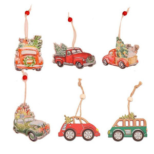 2Pcs Christmas Printed DIY Wooden Truck Pendants Ornaments Car Christmas tree Ornament Wood Craft Gifts New Year decor Kid toys