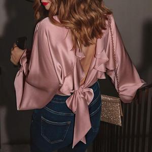 Bellaza женщин сексуальный Blackless Блуза Дизайнерские бюро Ladies Falbala Lace-Up Pink Блуза шелковые рубашки Элегантный Сыпучие Tops Women BLUS