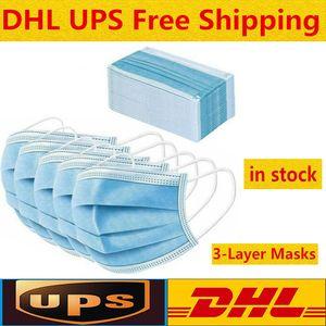 50 máscaras descartáveis Pcs cara grossas Máscaras 3 camadas com Earloops para Salon, Casa utilização confortável na máscara Stock