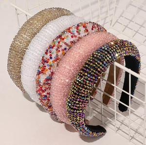 Fasce di capelli di cristallo dei cerchi di lusso lucido imbottito diamante fascia donne Copricapo Matrimonio Copricapo Design Ragazze Accessori per capelli capelli BWC2123
