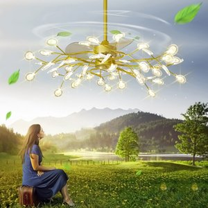 LED Stealth Потолочные вентиляторы Свет Спальня Пульт дистанционного управления Nordic Лампы LED Современный Минималистский Firefly Инвертор Гость Потолочные вентиляторы