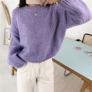 Hot Sale Colorfaith New 2020 Autumn Winter Women's Sweaters Casual Minimalist Fashionable Korean Style Knitted Sweater Pink Purple