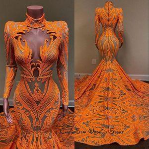 2020 Оранжевые русалки выпускные платья с длинными рукавами V-образным вырезом Сексуальная блестение африканских черных девушек выпускные платья плюс размер вечернее коктейльное вечернее платье