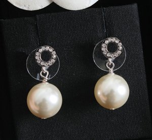 HOT fashion MINI letter pearl earrings aretes orecchini for women party wedding lovers gift jewelry engagement with box LZ