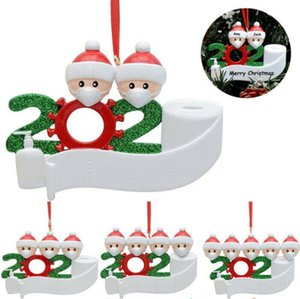 2021 Quarantine Christmas Birthdays Party Decoration Gift Product Personalized Family Of 4 Ornament Pandemic Social Distancing Free Shipping
