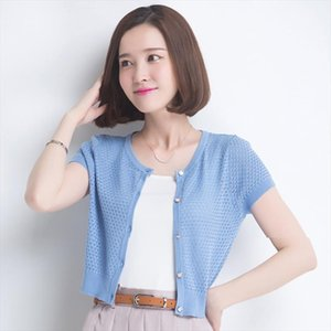 2019 Spring and Summer New Short Sleeved Womens Ice Silk Sweater Fashion Solid Color O Neck Air Conditioning Shirt Knit Sweater