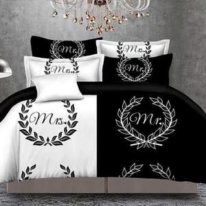 그의 옆 침대 리넨 커플 이불 커버 세트를 침대 퀸 사이즈 더블 베드 3PCS를 설정 그녀의 측면 Blackwhite