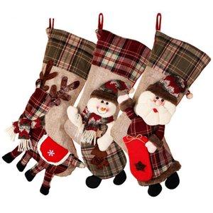 Titular gran media de la Navidad calcetín de la tela escocesa de regalo de Navidad decoración del árbol de Año Nuevo regalo bolsos del caramelo