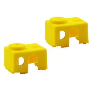 Impresora 3D 2pcs Parte V6 de silicona caso de la cubierta protectora calcetines amarillo en vez de cerámica