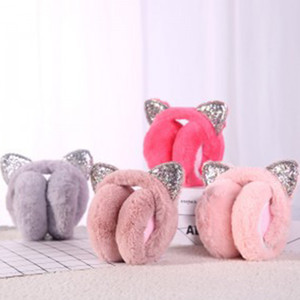 Q Fashion Cute Women Headwear Cold Proof Keep Warm Winter Cartoon Girl Ear Cover Cat Ear Solid Color Foldable Portable Muffs