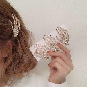 Clip di strass Skull capelli mano per la ragazza delle donne Diamante forcine scheletro zombie Forcina Halloween Accessori per capelli Cosplay Headwear