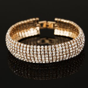 Link, Chain Luxury Crystal Bracelet & Bangles Full Zircon Austrian Women's Wedding Jewelry