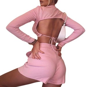 Women Sexy Sets 2020 New Sexy Open Back T-shirt Long Sleeve Top Cropped Tops Short Sets Casual Fashion Streetwear