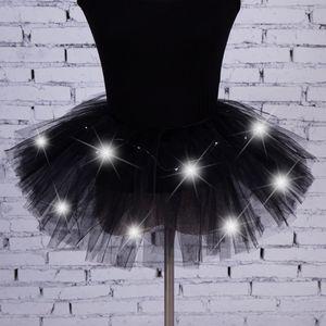 Танец Led Lights Пачка Mesh партия Юбка Женщина Тюль юбка Sexy Mini Adult Пушистых пряжи балет танец Хэллоуин Light Up - Rave