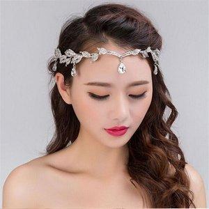 SHUANGR Luxury Crystal Crown Bridal Hair Accessories Wedding Rhinestone Waterdrop Leaf Tiara Crown Headband Hair Jewelry