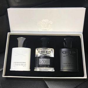 Venda quente Creed kit Parfum 30ml * 3 Creed Colónia 3 peças Sets Aventus Tweed Silver Mountain Água Perfume fragrância para homens