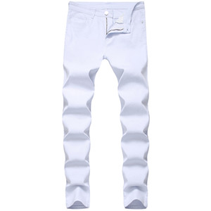 Mens Jeans Fashon White Jeans Skinny Denim Pants in Full Length High Street Motorcycle Pants Free Shipping