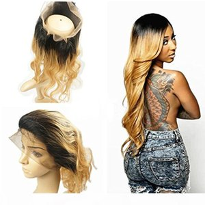 360 Full Lace Frontal Closure #1b 27 Dark Roots Honey Blonde Ombre Brazilian Remy Human Hair Extension Body Wave Swiss Lace