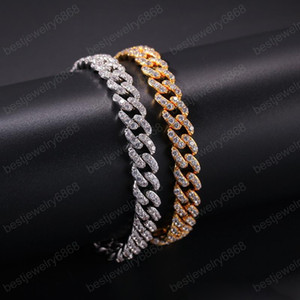 Men Bracelet Chain Yellow White Gold Plated Full CZ Cuban Bracelets for Men Hip Hip Jewelry Nice Gift