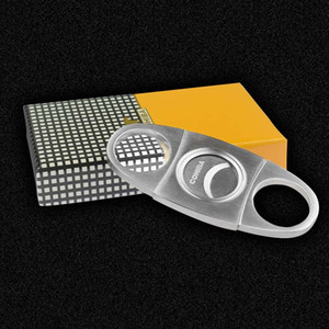 COHIBA Art und Weise hochwertige portable Edelstahl Zigarrenschneider Messer Schere-Schnitt-Tabak-Zigarre Geräte mit Box im Taschenformat Rauchmesser