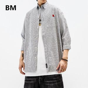 Men's Casual Shirts 2021 Summer Striped Japanese Streetwear Fashion Short Sleeve Men Clothing Harajuku Loose Three-Quarter Shirt Male