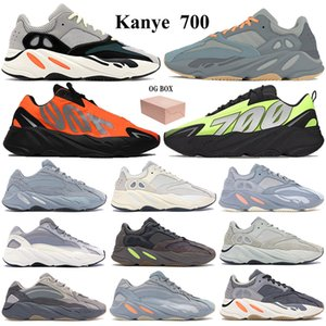 New 700 Running Shoes Kanye Sneakers with Keychain Box OG Solid Grey Teal blue orange Vanta Graffiti Orange Men Women Reflective Trainers