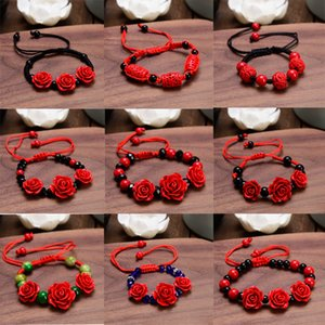 Fashion Vintage Black Rope Red Rose Women Bracelets Vintage Flower Red Retro Bracelets Adjustable