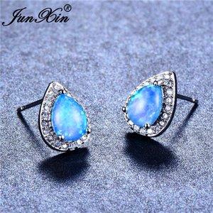 JUNXIN Silver Color Anti-Allergy серьги стержня для женщин Blue Fire Opal Water Drop Камень Камень Серьги Подарки