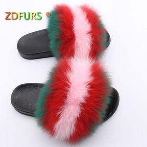 ZDFURS* 2020 Hair Slippers Women Fur Home Fluffy Sliders Plush Furry Summer Flats Sweet Ladies Shoes Hot Sale Cute Pantufas