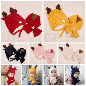 Weihnachten Baby-Strickmütze Kind Deer Horn Hat In Wollschal 2ST Kinder im Freien Süßigkeit-Farben-Winter-warmen Schal-Hut-Weihnachtsfest-Hüte RRA3571