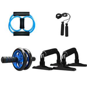 Fitness Abdominal Wheel Ab Roller 5-in-1 Core Muscle Exercise Fitness Equipment for Home Gym Workout with Push-Up Bar Jump Rope