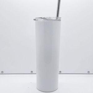 Sıcak satış özel Amazon 20oz süblime sıska mandal 20 oz boş beyaz paslanmaz çelik vakum kahve kupa kapak saman