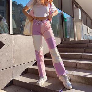 NCLAGEN autunno Donne personalizzata cuciture a contrasto a vita alta Jeans Pantaloni diritti casuali pantaloni gamba Cargo Pants Omighty
