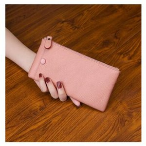 dd New top layer leather long ladies wallet card mobile phone bag soft leather ultra-thin simple wallet zipper bag man