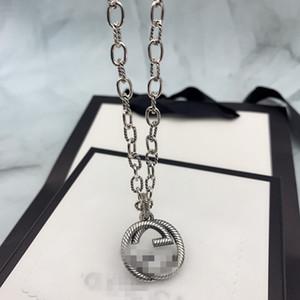 Collares de diseño marcas de lujo colgante de plata de ley 925 de largo Ronda Gargantilla para la joyería de la boda de las mujeres de Boho canal de regalo collar