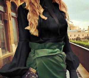 Wholesale-VONDA Ladies Office Shirt 2019 Autumn Blouse Women Sexy Lantern Sleeve Turn-down Collar Shirt Casual Tops Plus Size Blusas99