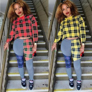 Stitching Contrast Set Crew Collar Long Sleeve Fashion Female Clothing Womens New Designer 2Pcs Tracksuits Plaid