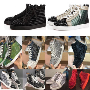 plataforma sapatos Red Bottoms Homens Mulheres Studded Spikes sapatilhas alta-top de couro genuíno ao ar livre Sapatos luxurys Designers Sneaker tamanho 36-47